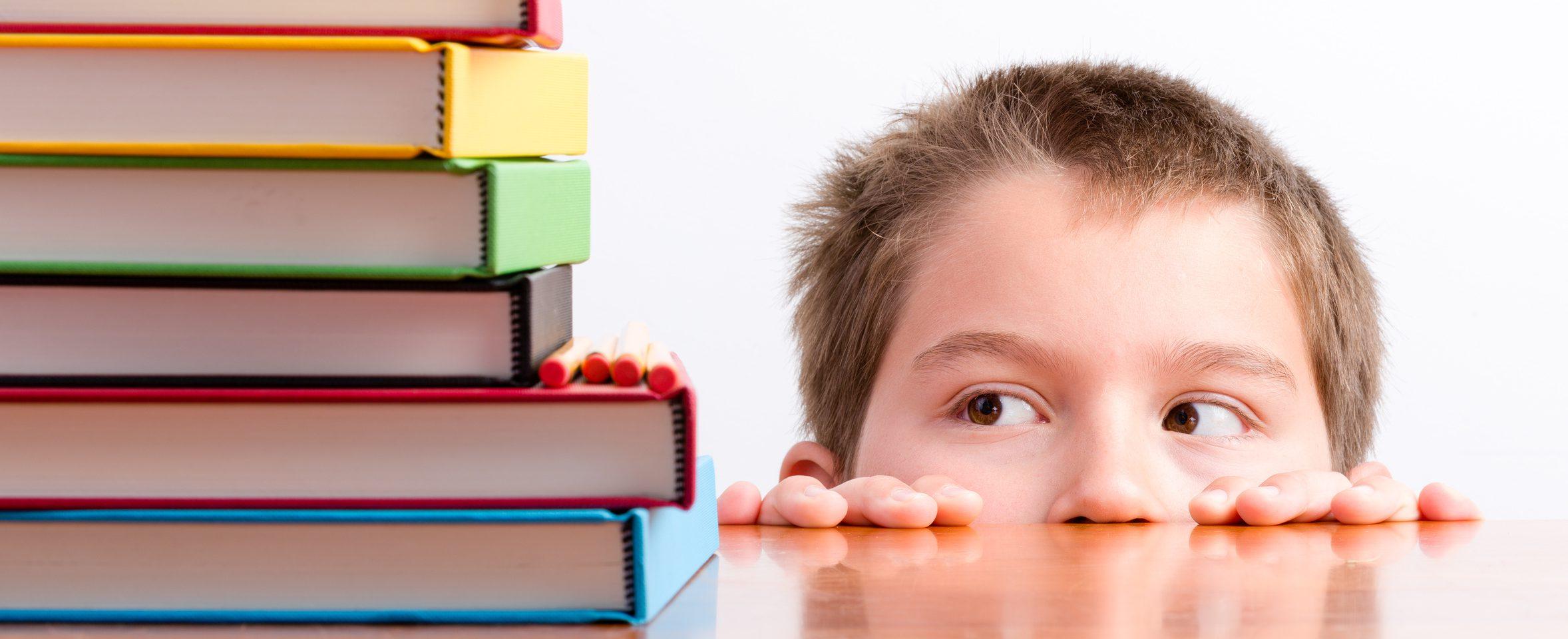 Schuljunge mit Büchern.